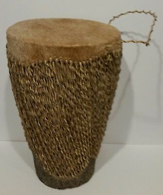 "AFRICAN GOAT SKIN CARVED TRIBAL DRUM HAND MADE WITH BALL INSIDE 13"" x 8.25"""