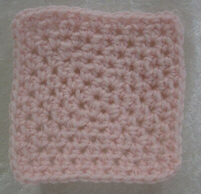 Miniature DOLLHOUSE BABY Crochet Mini BLANKET, Afghan, Quilt #23 Baby Soft Pink