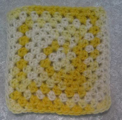 Miniature DOLLHOUSE BABY Crochet Mini BLANKET, Afghan, Quilt #18 Baby Yellow