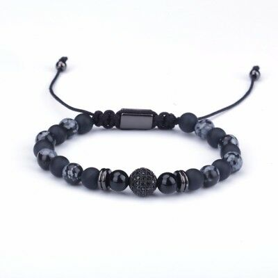Men's Natural Mixed Beads Gemstones Bracelet With CZ Ball Plated 24KT Black Gold