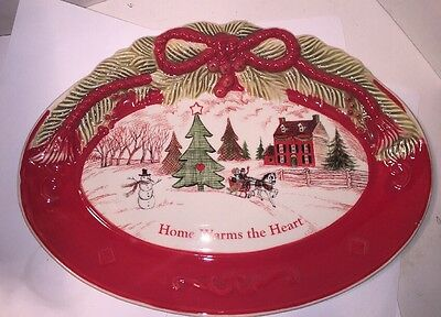 """Fitz & Floyd Sentiment Tray Home Warms the Heart Plate 10x7.25"""" Hand Crafted"""