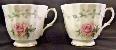 Crown Victorian Staffordshire Bone China Tea Cup Roses Teacups Set of 2 England