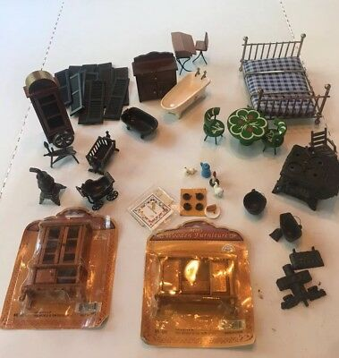 Lot of Vintage Wood Cast Iron Metal Furniture with accessories