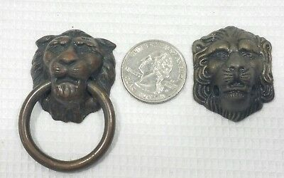 2 Different Vintage cast metal drawer pull Lion Ornate Style pull sash lift,