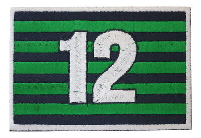 Seattle Seahawks 12 Fan Flag Embroidered Hook and Loop Patch