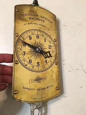 Rare Antique Jacobs Bros New York Penn Scale Brass & Iron 30 Lb