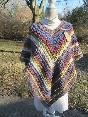 Hand Crochet Desert Sunset Colored Poncho-- FREE SHIPPING