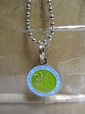 Saint St Christopher Medal PROTECT US surf surfing surfer blue green shallows