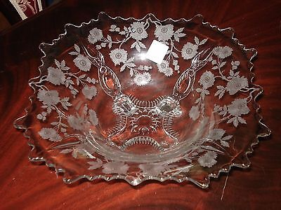 Cambridge Blossom Time Etched Crystal Console Bowl(4 Toes)......nice!