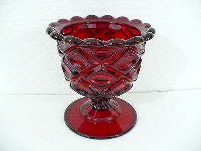 """SH Ruby Red Compote w/ Georgian design 5-3/8"""" tall w/ scalloped Rim/ indented RH"""