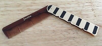 Vintage Stratton Fold Up Comb Black Gold Art Deco Style