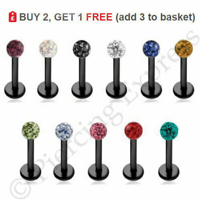 BLACK Labret Stud Lip Bar Steel Monroe Piercing Multi Crystal SHAMBALLA Ball