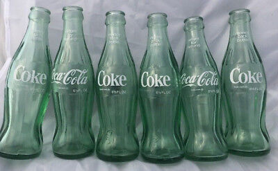 Vtg LOT of 6 - six and one half oz Coca Cola bottle Green Tint No Marking Bottom