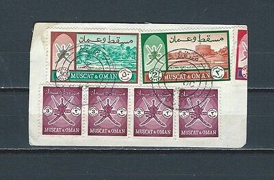 Middle East Muscat & Oman nice selection of stamps on piece 50 baises variety