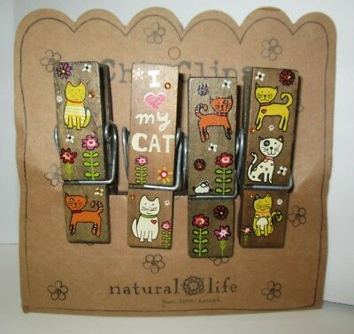 Natural Life Chip Clips Cats I Love My Cat Hand Painted Colorful Set of 4 NEW