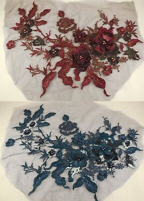 A large beaded floral lace applique sequined tulle lace motif 2 colours options.