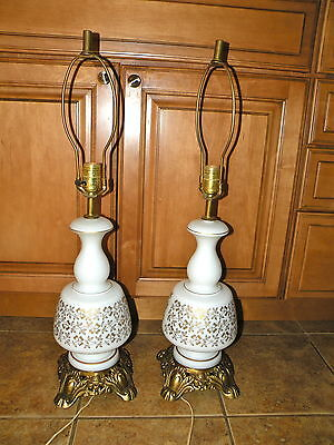 Pair of Vintage Hollywood Regency White Satin Table Lamps with Gold Filigree