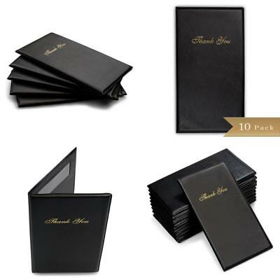 Leather Guest Check Book Credit Card Holder Restaurant Waiter Bill Receipt 10 Pc