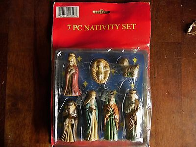 "NEW OTHER(old stock) 7 pcs. NATIVITY SET PORCELAIN 3""H W/SEALED PACKING"