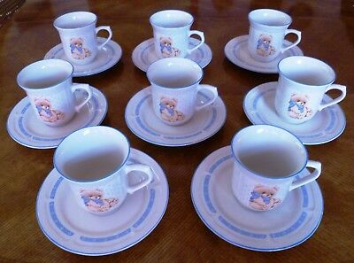 Tienshan Country Bear Stoneware Dinnerware Dishes 8 Cups and 8 Saucers NICE!