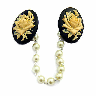 Black and Ivory Rose Cameo Sweater Clip