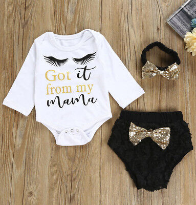 Pretty Fashion Toddler Infant Baby Girl Letter Romper+Shorts+Headband Outfit Set