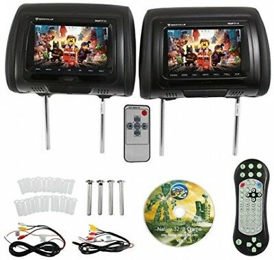 Rockville RDP711-BK 7? Black Car Headrest Monitors w/DVD Player/USB/HDMI+Games