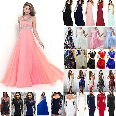 Ladies Long Lace Evening Formal Cocktail Party Ball Gown Prom Bridesmaid Dress A