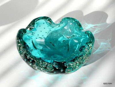Art Glass Astray or Bowl Sommerso Aqua Blue Controlled Bubbles Murano
