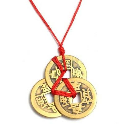 Good Lucky Chinese Coins Traditional Feng Shui Coin Fortune Wealth Brass Chain