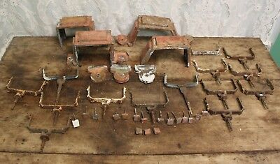 Lot of Salvaged Antique Copper Gutter Straps Brackets Copper Square Head Nails