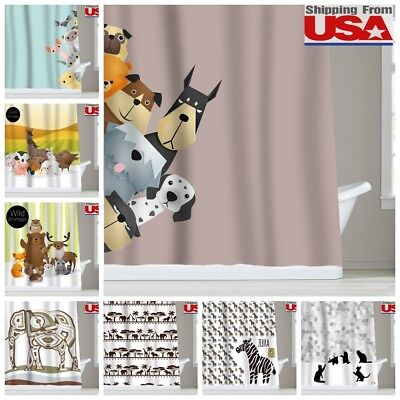 Animal Dog Cat Kid Waterproof Fabric Shower Curtain Bathroom 12Hooks Set 72x72