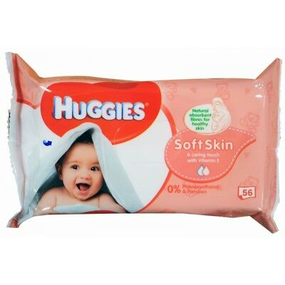 HUGGIES PK56 BABY WIPES SOFT SKIN STICKY TOP (560 Wipes)-SYD Stock