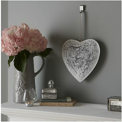 Sophisticated Vintage White Lace Metal Heart Plaque Hanging Wall Art Decor Gift