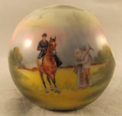 "Royal Bayreuth Scenic Horsewoman/Peasants Cigar Ball Ashtray  3"" tall 2B Mark"