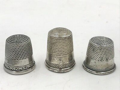 Antique Sterling Silver Thimbles Lot of 3 size 9 10 Stern and Simons Bros SM