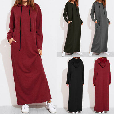 UK Women Hooded Hoodies Sweatshirt Pockets Casual Loose Long Maxi Dress Kaftan