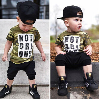 USA 2Pcs Toddler Kids Boys Camo Tops T-shirt Shorts Summer Outfits Set Clothes