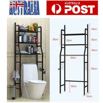 3 Tiers Over Toilet Shelf Storage Rack Shelf Unit Bathroom Organizer Black AU