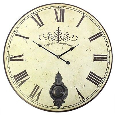 Large Antique Cream Shabby Chic Vintage Round Wall Mounted Clock With Pendulum