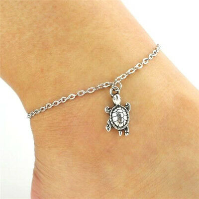 Vintage Silver Plated Tortoise Ankle Chain Anklet Bracelet Foot Beach Jewelry