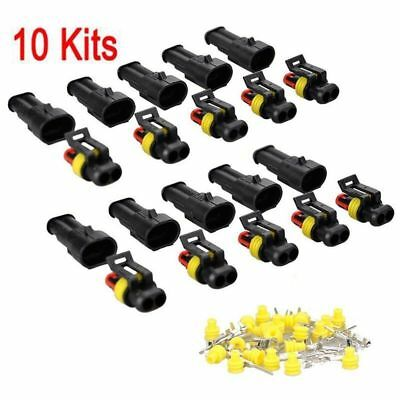 10 Kit 2 Pin  Pin Waterproof Automotive/Marine Electrical Wire Connector kit new