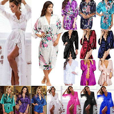 Women Floral Satin Robe Kimono Dressing Gown Wedding Party Bridesmaid Sleepwear
