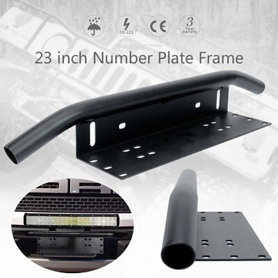 23 inch License Number Plate Frame Holder Bull Bar Mount Light Lamp LED Bracket