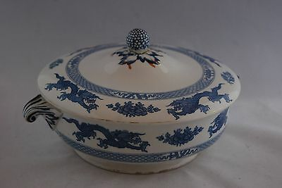 Booth's Silicon China Oriental Pattern Lidded Serving Dish Dragons