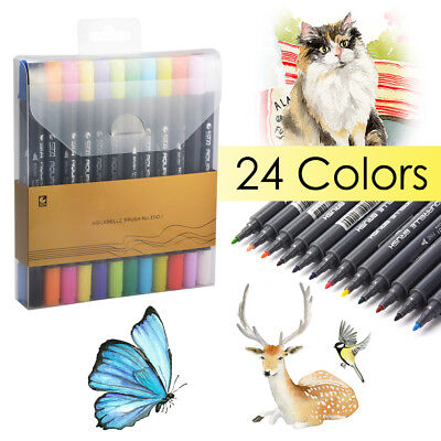 STA 24-Color Brush+Fine Dual-Tip Watercolor Aquarelle Paint Detailing Pen TH775