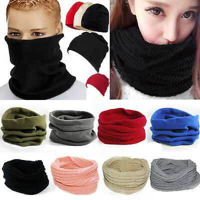 Mens Womens Winter Polar Fleece Neck Warmer Knit Snood Scarf Ski Motorbike Mask
