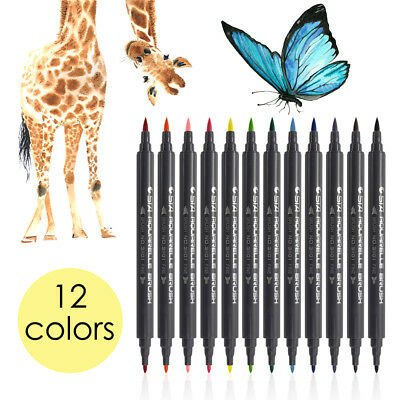 STA 12-Color Dual Head Watercolor Drawing Painting Sketch Brush Marker Pen TH774