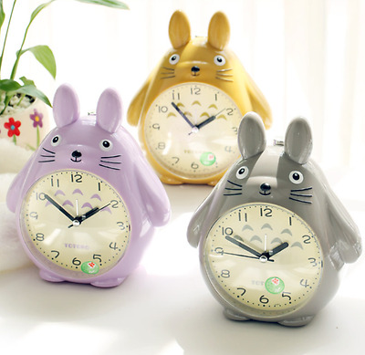 cartoon lovely totoro children desk night light wake up quiet alarm clock voice