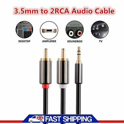 1 Meter Mini Gold Plated Male Aux 3.5mm Jack Audio Plug to twin 2X RCA Cable LS